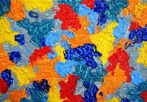 地球の楽園 #2 アクリル、ホワイトオペークフレーク、キャンバス 158×227mm