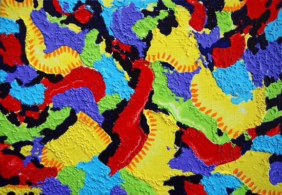 地球の楽園 #4 アクリル、グラスビーズ、キャンバス 158×227mm