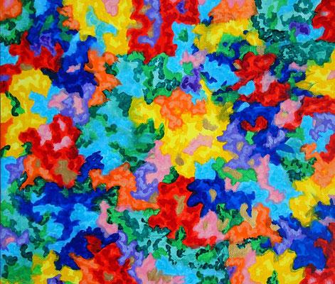 楽園の花 アクリル、キャンバス 455×530mm