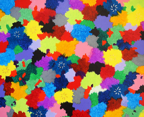 Paradise flowers #2,  Acrylic on canvas,  530×652mm
