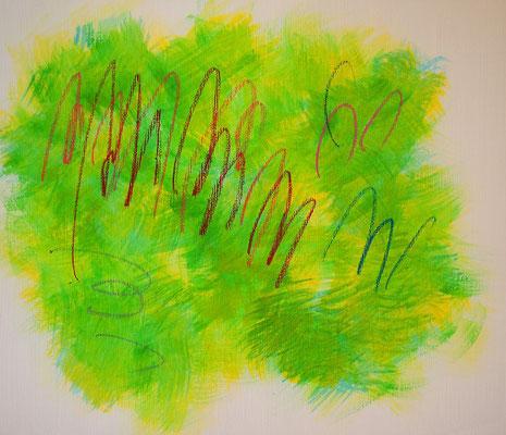 波動と遊び #1 アクリル、オイルパステル、キャンバス 455×530mm