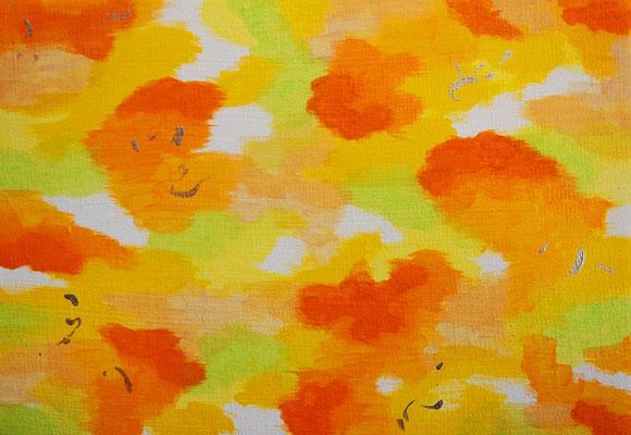 雲と波動 #4 アクリル、キャンバス 158×227mm