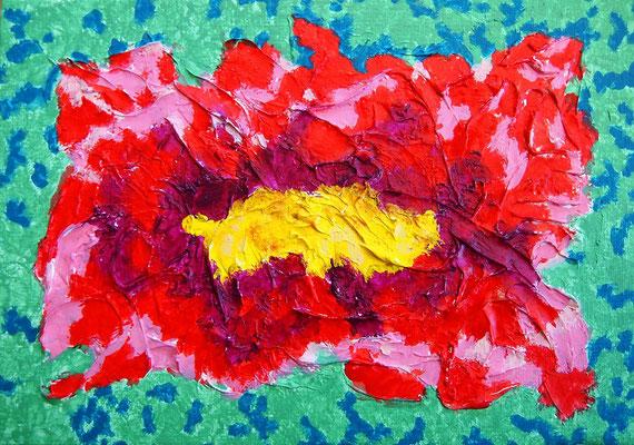 flower #45 アクリル、モデリングペースト、キャンバス 158×227mm
