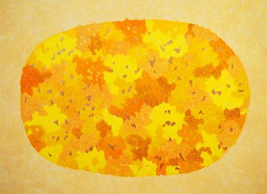 黄色の太陽 アクリル、キャンバス 530×727mm
