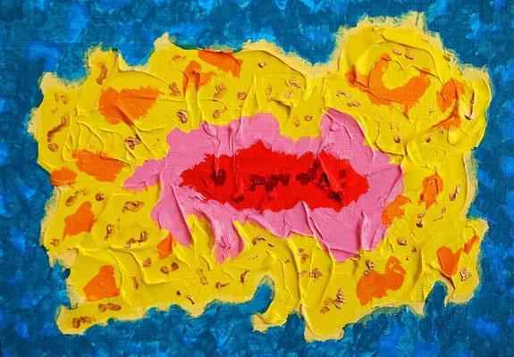 flower #46 アクリル、モデリングペースト、キャンバス 158×227mm