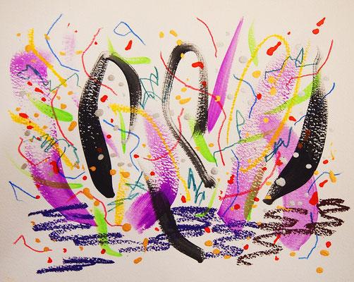 無題 210813 アクリル絵具、色鉛筆、オイルパステル、水彩紙 222×277mm