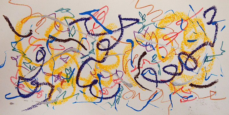 無題 210916 アクリル絵具、色鉛筆、オイルパステル、水彩紙 140×275mm
