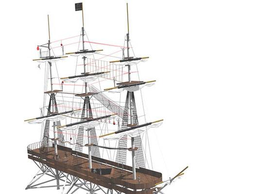 Modélisation 3D, éclairages et textures pour l'Accro-mâts à Rochefort