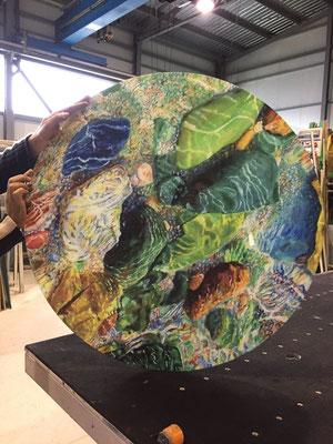 Modelo INNKREIS. Impresión digital sobre cristal mesa en VIDRIOTEC (Murcia)