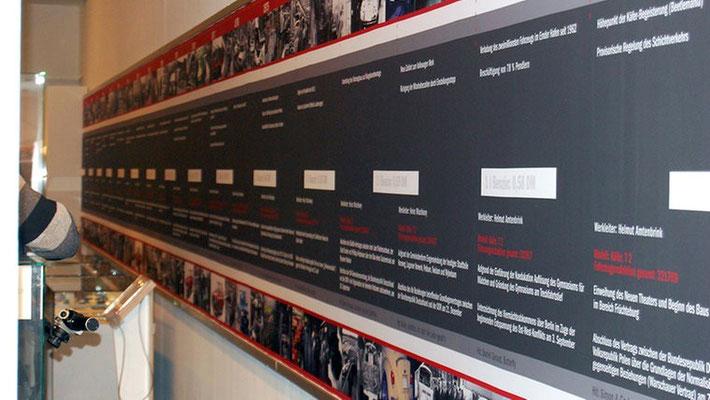 Konzeption und Design Zeittafel, Ausstellung, 50 Jahre VW in Emden, Ostfriesisches Landesmuseum