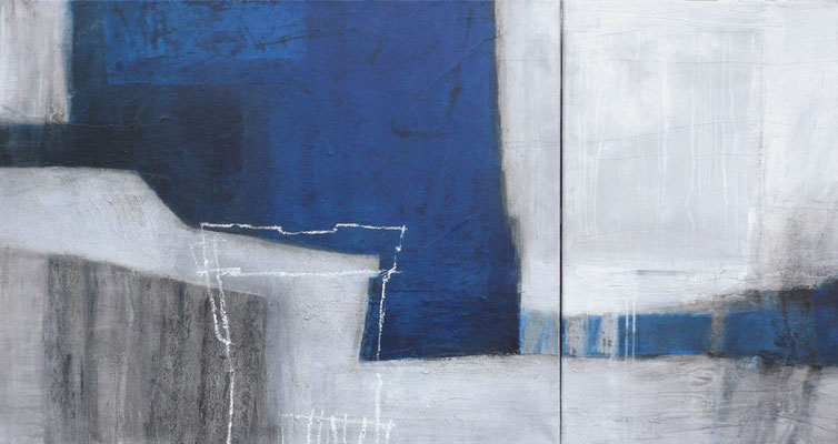 Porta, Diptychon, Collage, Pigmente, Acryl auf Leinwand, 80 x 150 cm