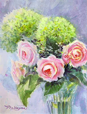 水彩画                             アナベルと薔薇