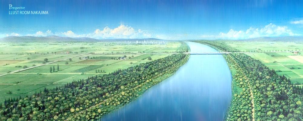 ランドスケープパース   石狩川