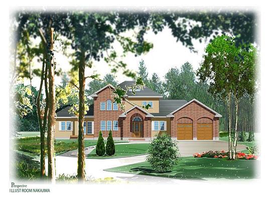 建築パース         森の中の住宅