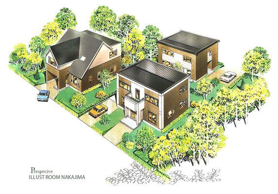 建築パース                               住宅鳥瞰パース