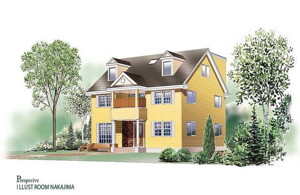 建築パース                               ツーバイフォー住宅1