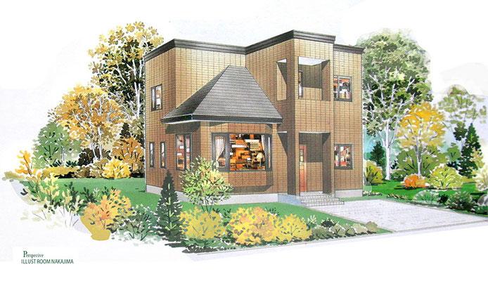 建築パース                               レンガタイル住宅3