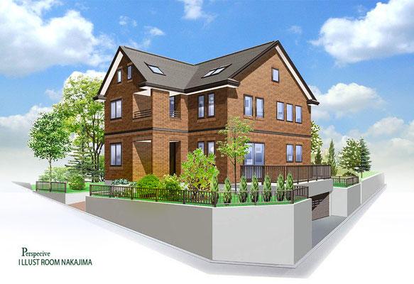 建築パース                               レンガタイル住宅2