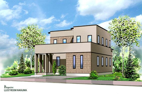 建築パース                               レンガタイル住宅1
