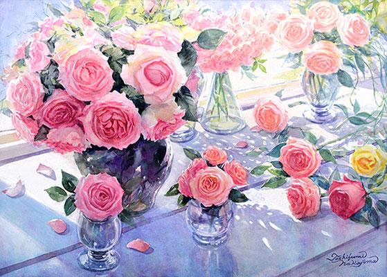 水彩画                          陽ふり注ぐ窓辺   薔薇