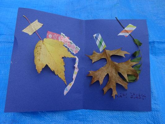 葉っぱをマスキングとボンドでぺたぺた♫ オリジナルカードができました。