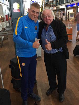Linny Meerts tijdens een toevallige ontmoeting op Rotterdam Airport