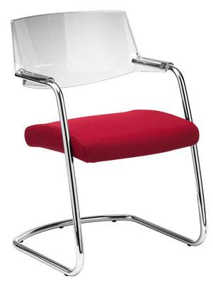 Preisgünstiger hochwertiger Wartezimmerstuhl mit Rücken in Transparent, Netz oder Vollpolster