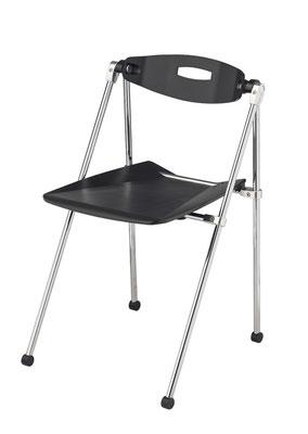 Design-Klappstuhl, der auf 4 Beinen auch bei Bodenunebenheiten nie wackelt. Vorrätig mit Sitz- und Rückenteil in schwarz und transparent // ab € 134.--