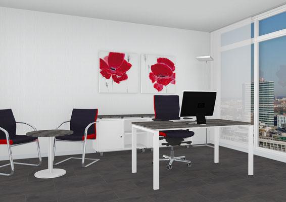 Arbeitsplatz mit Besprechungsrundtisch und rollbares Sideboard - Lieferbar in jeder anderen Abmessung, Ausführung und Farbkombination möglich