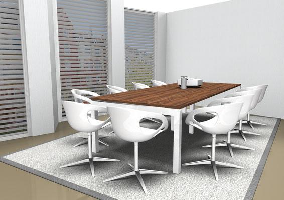 Bench-Gestell mit schwebender Tischplatte in jeder Größe lieferbar