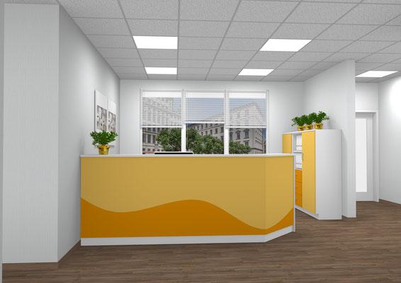 Empfangstresen eines Kinderarztes mit Schrankteil – farblich abgestimmt. EDV Arbeitsplatz mit Fachablagen und Container - Lieferbar in jeder anderen Abmessung, Ausführung und Farbkombination möglich.