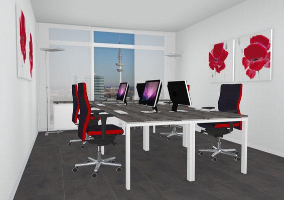 4er Arbeitsplatzkombination mit Sideboard (rollbar)  Lieferbar in jeder anderen Abmessung, Ausführung und Farbkombination möglich