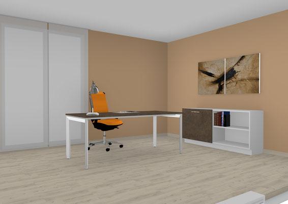 Schreibtisch höheneinstellbar mit Schiebeelement. Lieferbar in jeder anderen Abmessung, Ausführung und Oberfläche.