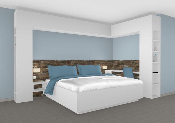Doppelbett mit Schrankumbau und Schreibplatz. Lieferbar in jeder anderen Abmessung, Ausführung und Farbkombination möglich.