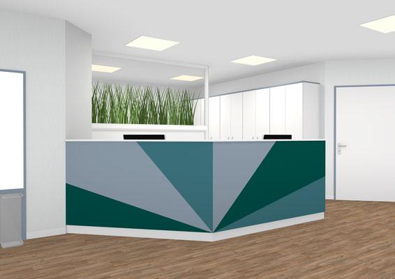 moderner Empfangstresen 135 ° mit 2 Arbeitsplätzen Farbgebung nach Kundenwunsch. Schrankanlage farblich abgestimmt .Inneneinteilung mit Kleingefachen - Lieferbar in jeder anderen Abmessung, Ausführung und Farbkombination möglich.