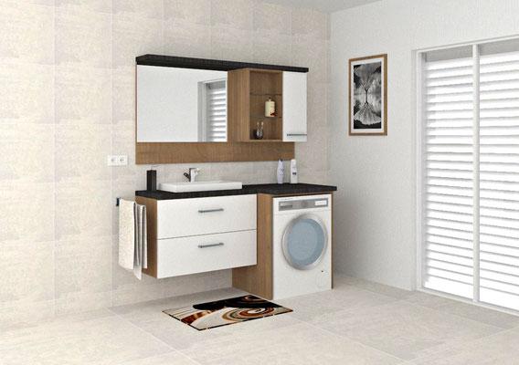 Mini-Badeirichtung mit Spiegel+Hängeschrank Waschtischunterbau mit Schubladen, sowie Umbau einer Waschmaschine