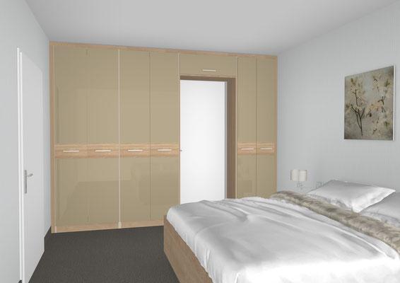 Hochwertiger Einbauschrank mit Spiegellackfront und Holzquerstreifen
