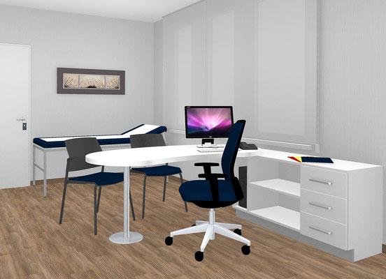 Tischplatte in Tropfenform mit angrenzender Flachstrecke und  Schubladen-Regalteil - Lieferbar in jeder anderen Abmessung, Ausführung und Farbkombination möglich.