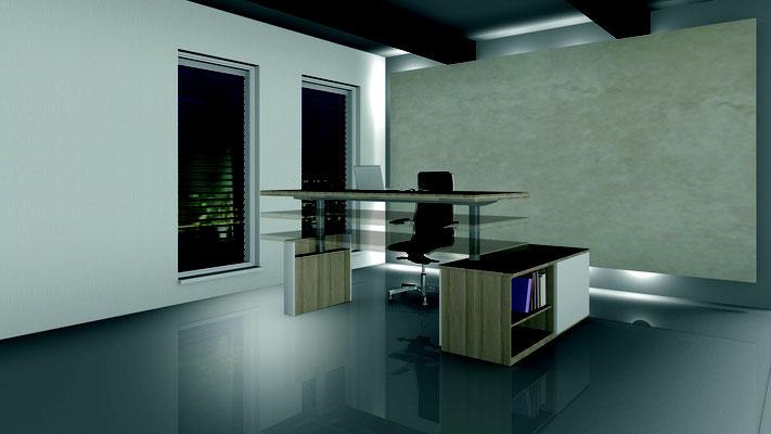hochwertiger Sitz-Steh Arbeitsplatz mit Flachstrecke  Lieferbar in jeder anderen Abmessung, Ausführung und Farbkombination möglich.