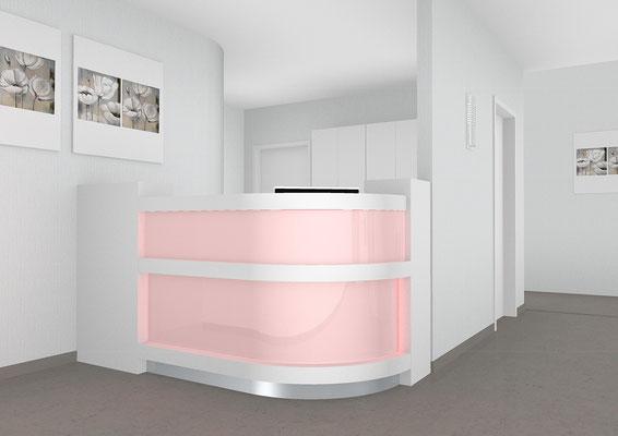 Halbrund-Empfangstresen mit (rechts und links) halbhoher Regalsäule. Unter der Deckplatte und Längstrennung LED Beleuchtung. EDV Arbeitsplatz mit Facheinteilung - Lieferbar in jeder anderen Abmessung, Ausführung und Farbkombination möglich.