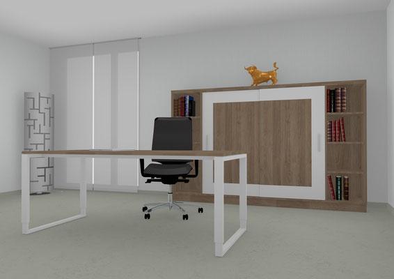 Schreibtisch höheneinstellbar mit schwebender Tischplatte in  Nussbaum. Lieferbar in jeder anderen Abmessung, Ausführung und Oberfläche.