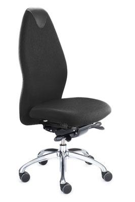Ergonomischer Bürostuhl für höchste Ansprüche mit hoher Rückenlehne. Vorrätig mit Stoff oder Leder in schwarz // ab € 398.--
