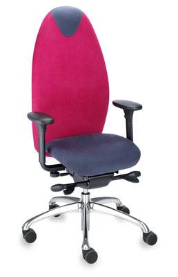Ergonomischer Bürodrehstuhl mit dynamisch beweglicher Sitzfläche und hohem Rücken – in Farbkombination und mit Armlehnen
