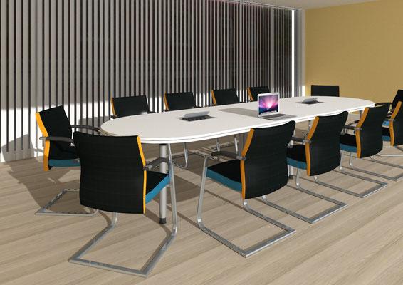 Konferenzzimmer 12-16 Personen mit Konferenzsessel (Freischwinger) mit farbigen Stegen - Lieferbar in jeder anderen Abmessung, Ausführung und Oberfläche