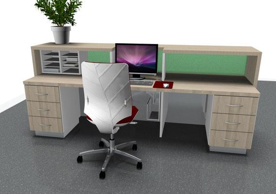 Treseninneneinteilung mit Standcontainern und Bildschirmausschnitt - Lieferbar in jeder anderen Abmessung, Ausführung und Oberfläche