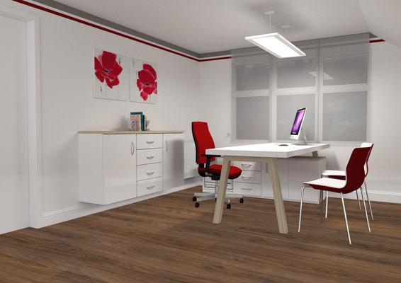 Moderner Beratungsplatz in einer Arztpraxis. - Lieferbar in jeder anderen Abmessung, Ausführung und Farbkombination möglich.