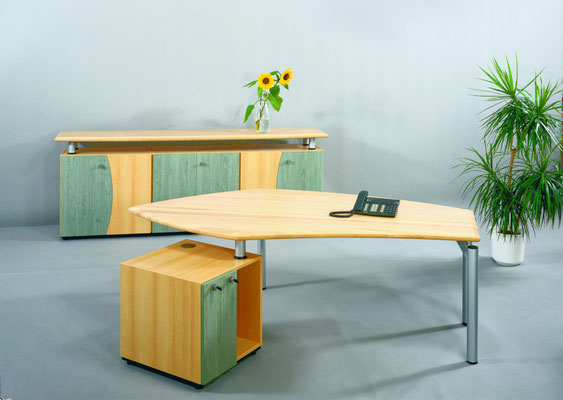 Arbeitsplatzkombination - Deckplatten in massiv Leimholz