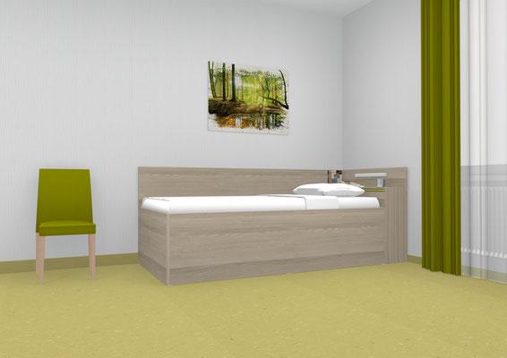 Seniorenbett mit hoher Liegefläche. Lieferbar in jeder anderen Abmessung, Ausführung und Oberfläche.