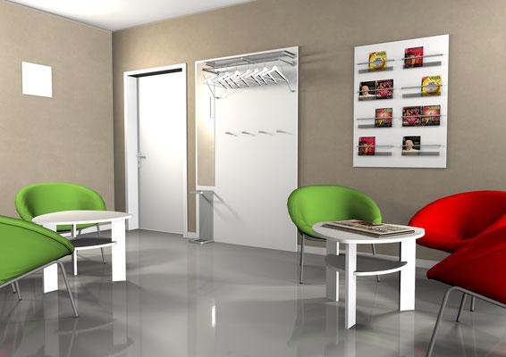 Moderner Wartebereich mit Designsessel und ovalen Tisch. Exklusive Wandgarderobe mit Zeitschriften und Prospektregal