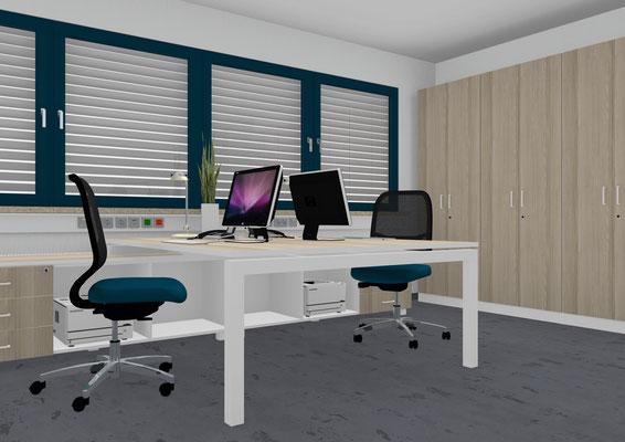 Doppelarbeitsplatz - Tischplatte 2000x2000 mm - aufgesetzt auf durchgehender Flachstrecke. Schrankwand Farbkombination Eiche rustikal/weiß.